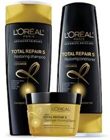 L'Oreal Total Repair 5 Restoring Shampoo 12.6 fl oz, Restoring Conditioner 12.6 fl oz and Damage-Erasing Balm 8.5 fl oz (Set of 3)