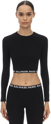 Balmain Logo Waistband Cotton Crop Top