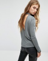 Religion High Neck Open Back Top With Bead Detail & Long Sleeves