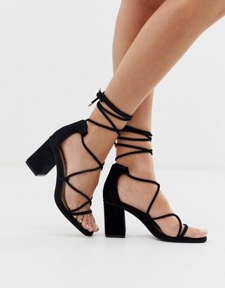 Asos DESIGN Host suede block heeled strappy sandals in black