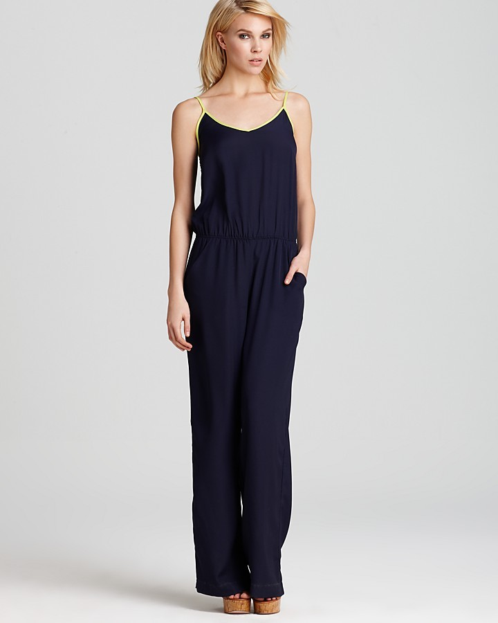 DKNY Aqua Jumpsuit - V Neck with Pockets