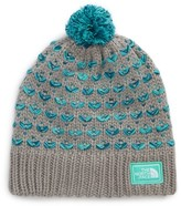 The North Face Girl's Chunky Knit Pompom Beanie - Metallic