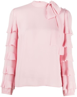 RED Valentino Ruffle-Sleeve Tie-Neck Blouse