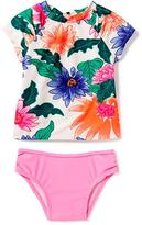 Old Navy Floral Peekaboo Rashguard & Bikini Swim Set for Toddler Girls
