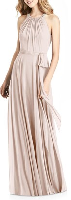 Jenny Packham Crystal Strap Chiffon A-Line Gown