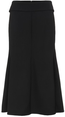 Victoria Beckham Chain-trimmed wool-crepe midi skirt