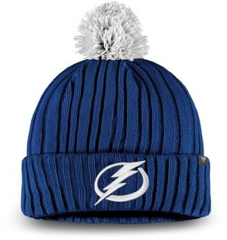 Key Stone Men's Fanatics Branded Blue Tampa Bay Lightning Keystone Cuffed Knit Hat with Pom