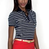 Chaps Lace-Up Striped Top