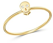 Zoë Chicco 14K Yellow Gold Itty Bitty Skull Ring with Diamonds