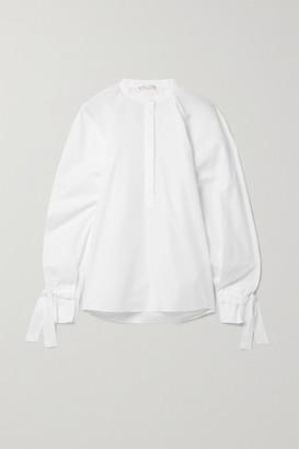 BITE Studios Net Sustain Tie-detailed Organic Cotton-poplin Blouse - White