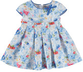 Mayoral Cap-Sleeve Pleated Floral Sateen Dress, Cobalt, Size 6-36 Months