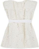 Lanvin FLORAL FIL COUPÉ COTTON-BLEND DRESS-WHITE SIZE 4
