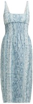 Emilia Wickstead Python-print Shirred Linen Midi Dress - Womens - Blue Print