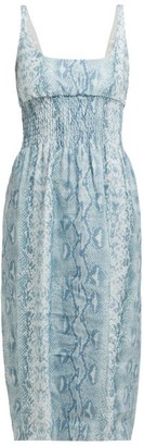 Emilia Wickstead Python-print Shirred Linen Midi Dress - Womens - Blue Print