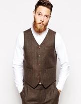 Asos Slim Waistcoat In Herringbone