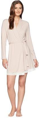 Eberjey Lady Godiva Robe (Pink Clay/Off-White) Women's Robe