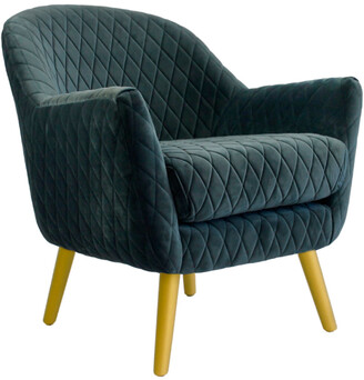 Darcy And Duke Club Chair Steel Blue With Gold Legs