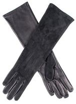 Black Long Suede and Leather Gloves