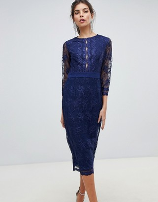 Little Mistress sheer mid length sleeve embroidered mesh pencil dress with scallop edging ves.-Navy