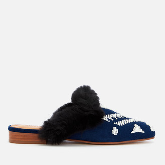 Soludos Women's Sedona Faux Fur Beaded Mules - Navy