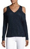 Velvet Cold-Shoulder Textured Knit Sweater, Navy