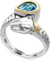 Effy EFFYandreg; Blue Topaz (1-1/10 ct. t.w.) Panther Bypass Ring in Sterling Silver and 18k Gold