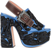 Rochas embellished sandals - women - Leather/Satin/Sequin - 35