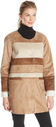 Sam Edelman Women's Aiden Color Block Shearling Coat