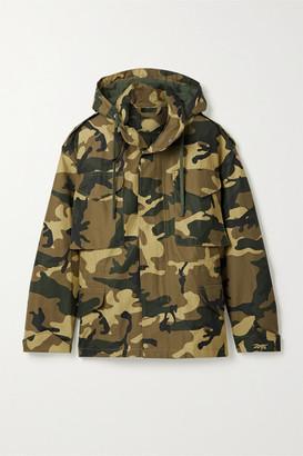 Reebok x Victoria Beckham Oversized Hooded Camouflage-print Cotton Jacket - Army green