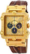 JBW Goldtone & Brown Phantom Diamond Leather Strap Watch - Men
