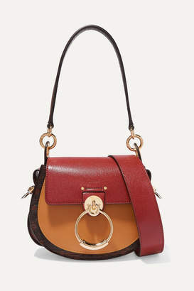 Chloé Tess Small Color-block Smooth And Lizard-effect Leather Shoulder Bag - Brown
