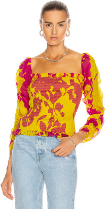 Caroline Constas Gemma Top in Yellow & Fuchsia | FWRD