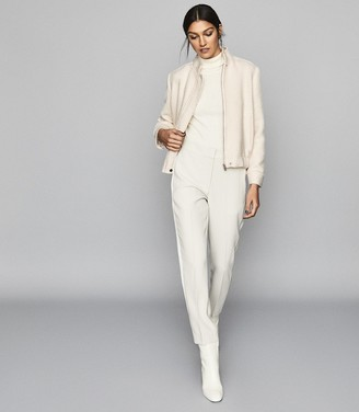 Reiss Tahlia - Boucle Bomber Jacket in Ivory
