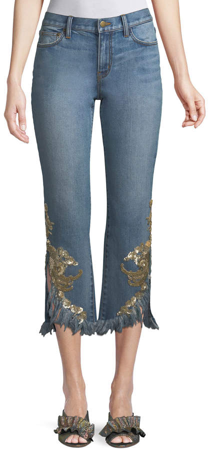 Neiman Marcus Kobi Halperin Embellished Rae Pants w/ Frayed Hem