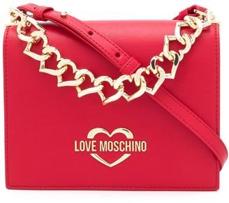 Love Moschino heart-chain logo-plaque crossbody bag