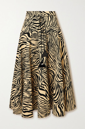 Christopher Kane Pleated Zebra-print Crepe Midi Skirt - Black