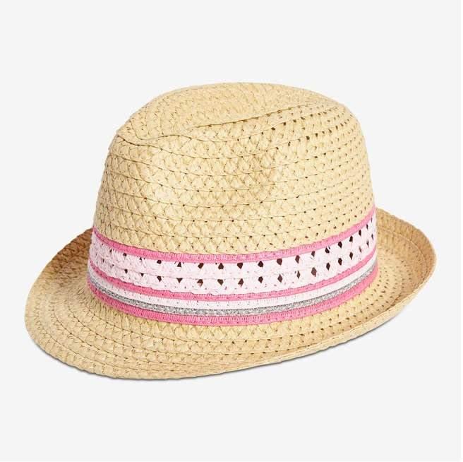Joe Fresh Kid Girls' Stripe Band Straw Fedora, Natural (Size L/XL)