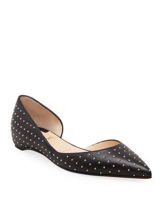 Christian Louboutin Iriza Studded Leather Asymmetrical Ballerina Flats