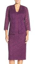 Alex Evenings 1121023 Lace Dress with Quarter Sleeve Jacket