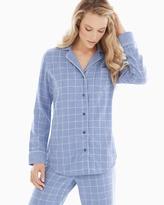 Soma Intimates Essential Long Sleeve Cotton Pajama Top Plaid Lavender Luster