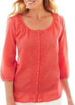 JCPenney St. John's Bay St. Johns Bay 3/4-Sleeve Button-Front Peasant Top