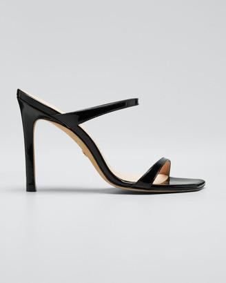 Stuart Weitzman Aleena Patent Slide Heeled Sandals