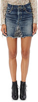 Saint Laurent Women's Studded Denim Miniskirt-NAVY