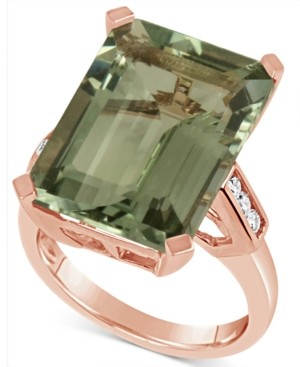 Macy's Prasiolite (15 ct. t.w.) & Diamond (1/5 ct. t.w.) in 14k Rose Gold