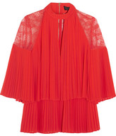 Elie Saab Lace-paneled Pleated Georgette Blouse - Red