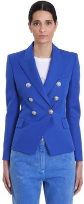 Balmain Blazer In Blue Wool