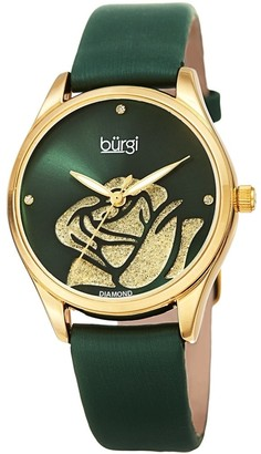 Burgi Ladies Diamond Glitter Rose Floral Green Leather Strap Watch