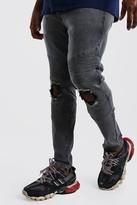 boohoo Mens Grey Big And Tall Skinny Busted Knee Biker Jean, Grey