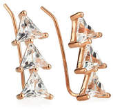 Jennifer Zeuner Jewelry Chlo White Sapphire Trillion Cluster Earrings in 18K Rose Gold Plate