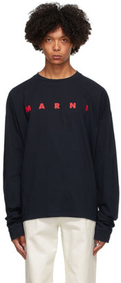 Marni Navy Light Cotton Front Logo Long Sleeve T-Shirt